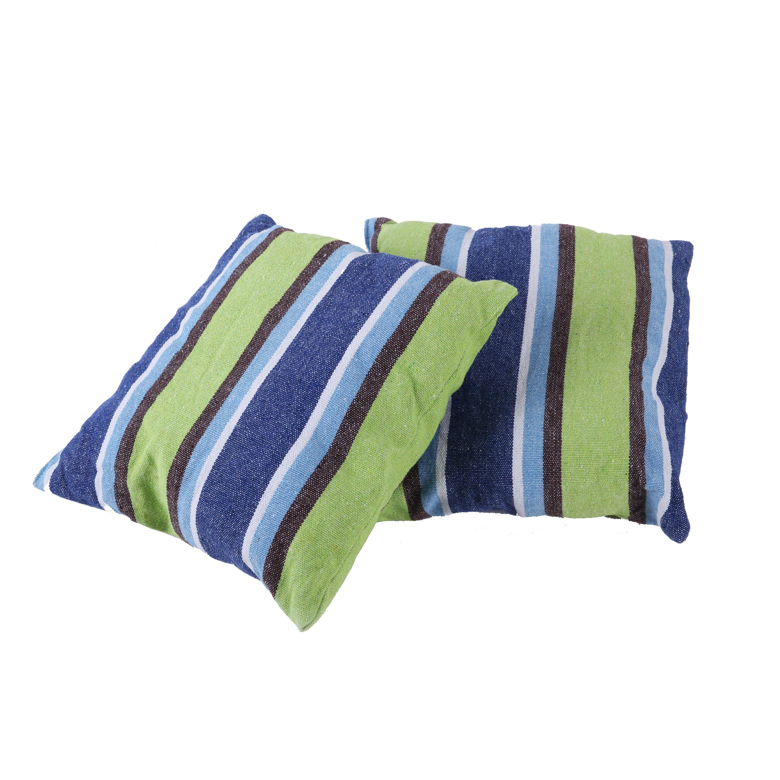 Inspired Home Living 2 Pack 18x18 Pillow Cushions - Blue and Green Striped - Best Used for Hammocks, Hammock Chairs, Patio Swings - Indoor and Outdoor (45x45cm)