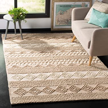 Safavieh Natura Collection NAT102B Hand-Woven Beige and Ivory Area Rug (6' x 9')