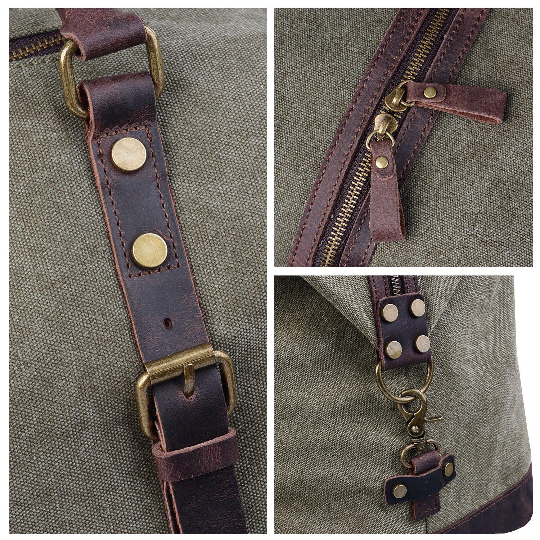 309ba8d59f Jack   Chris Oversized Canvas Leather Trim Travel Tote Duffel shoulder  handbag Weekend Bag CB1004