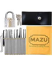 MAZU 15-Piece Unlocking Lock Pick Set Key Extractor Tool with Transparent Practice Padlock
