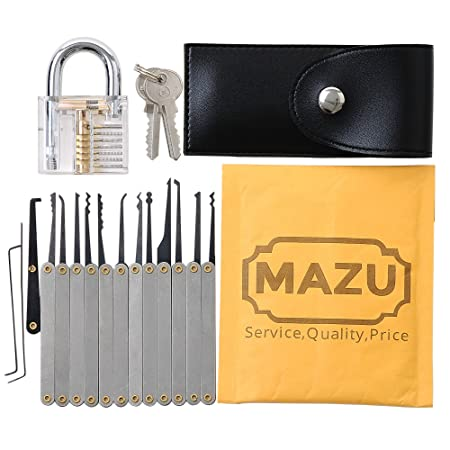 mazu 15 piece unlocking lock pick set key extractor tool with