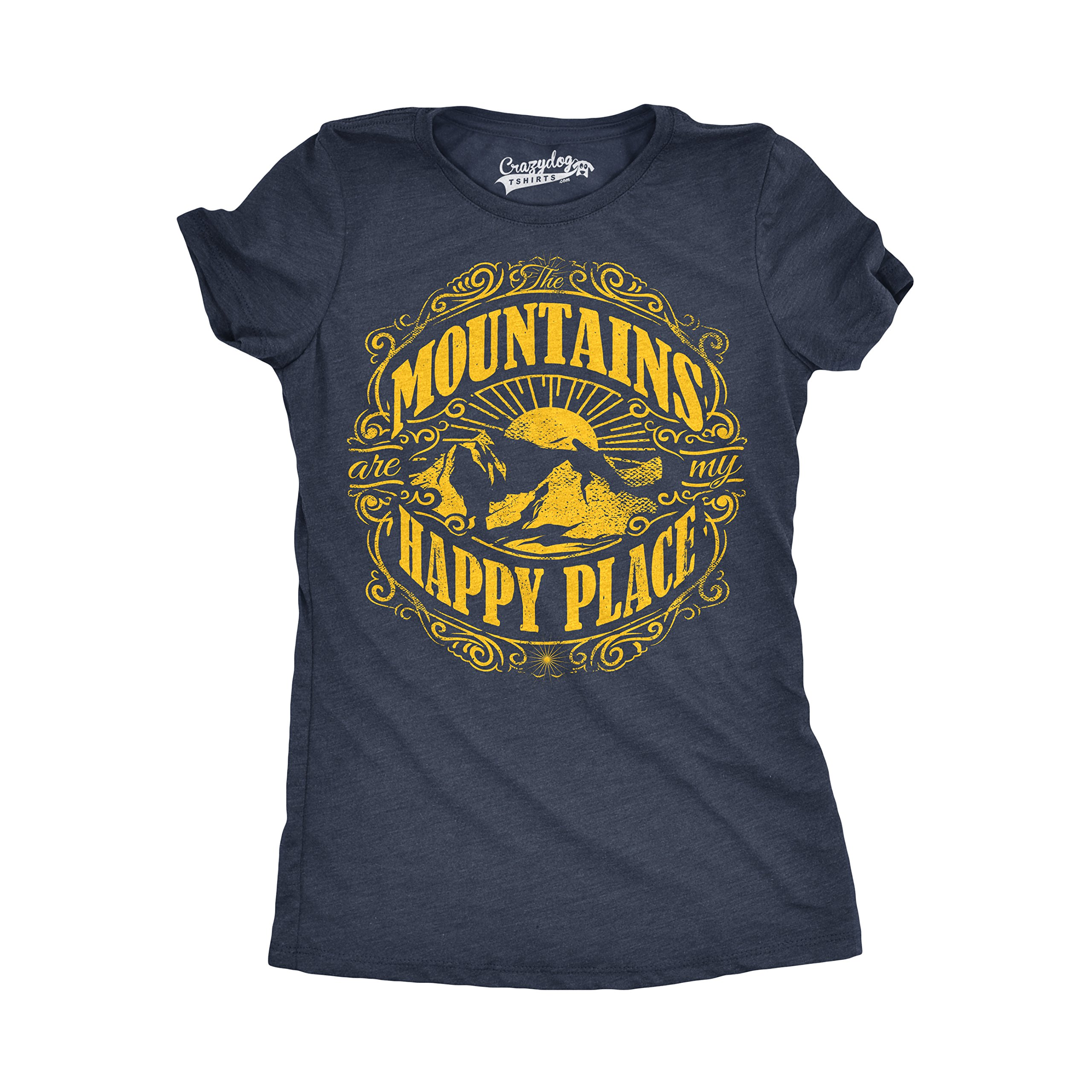 Womens Mountains are My Happy Place Cool Vintage Rockies Outdoor Nature T Shirt (Navy) L