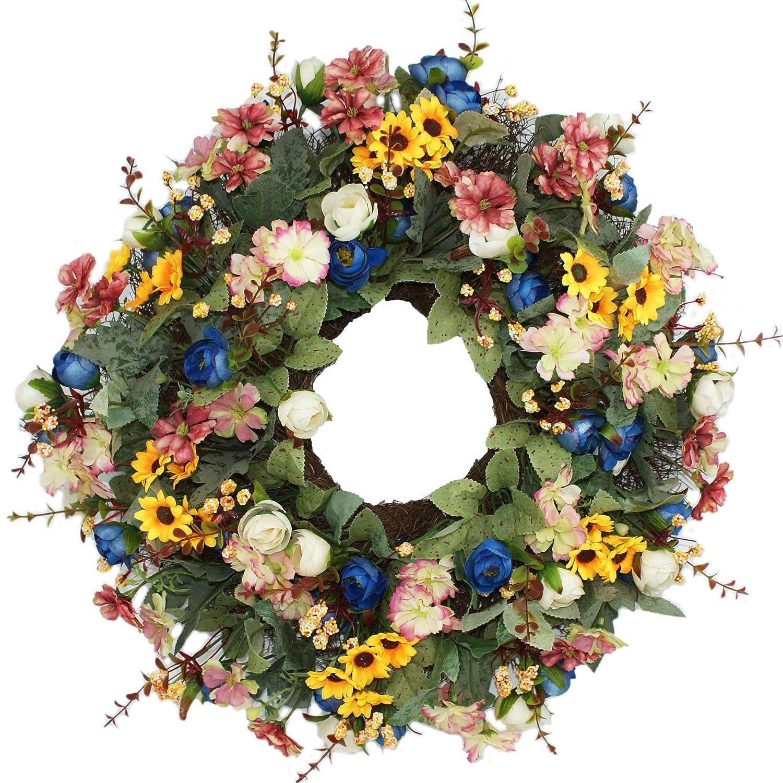 Emlyn Silk Summer Door Wreath 16 Inch -Handcrafted Grapevine Wreath
