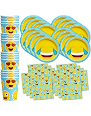 Emoji Birthday Party Supplies Set Plates Napkins Cups Tableware Kit for 16 by Birthday Galore
