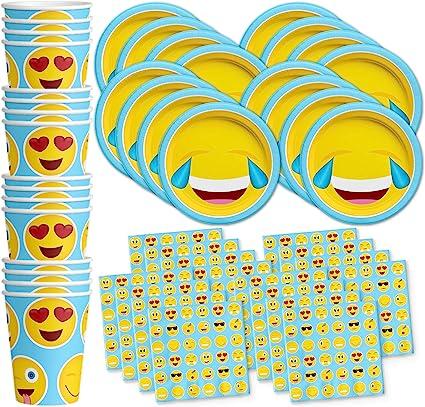 Amazon.com: Emoji Fiesta de cumpleaños suministros set ...