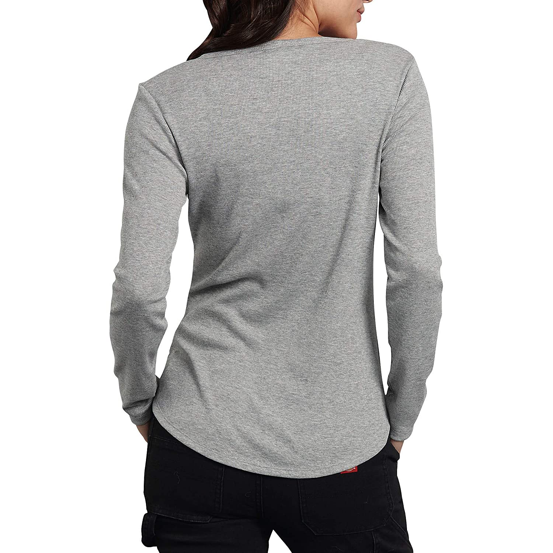 Small Dickies Womens Long-Sleeve 3-Button Henley Shirt Graphite Single Dye