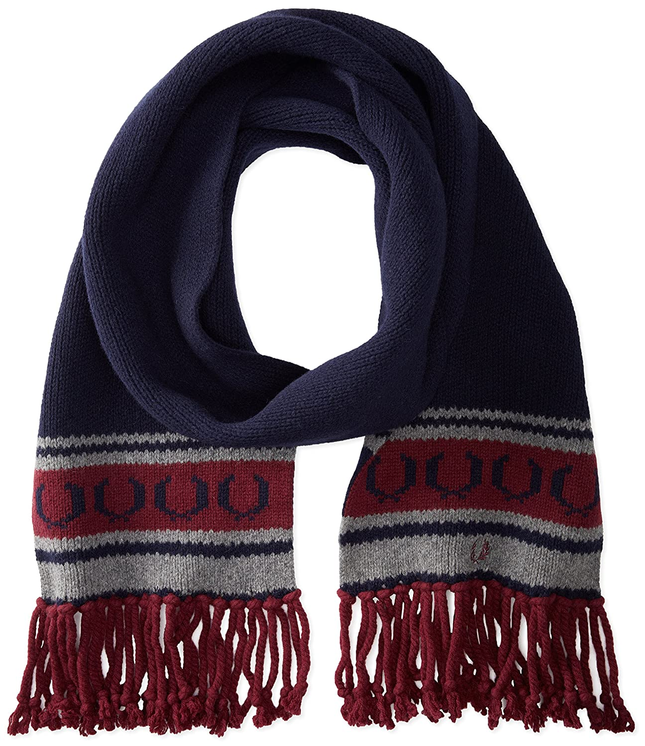 Fred Perry Men's Fairisle Knit Scarf Navy One Size C5105