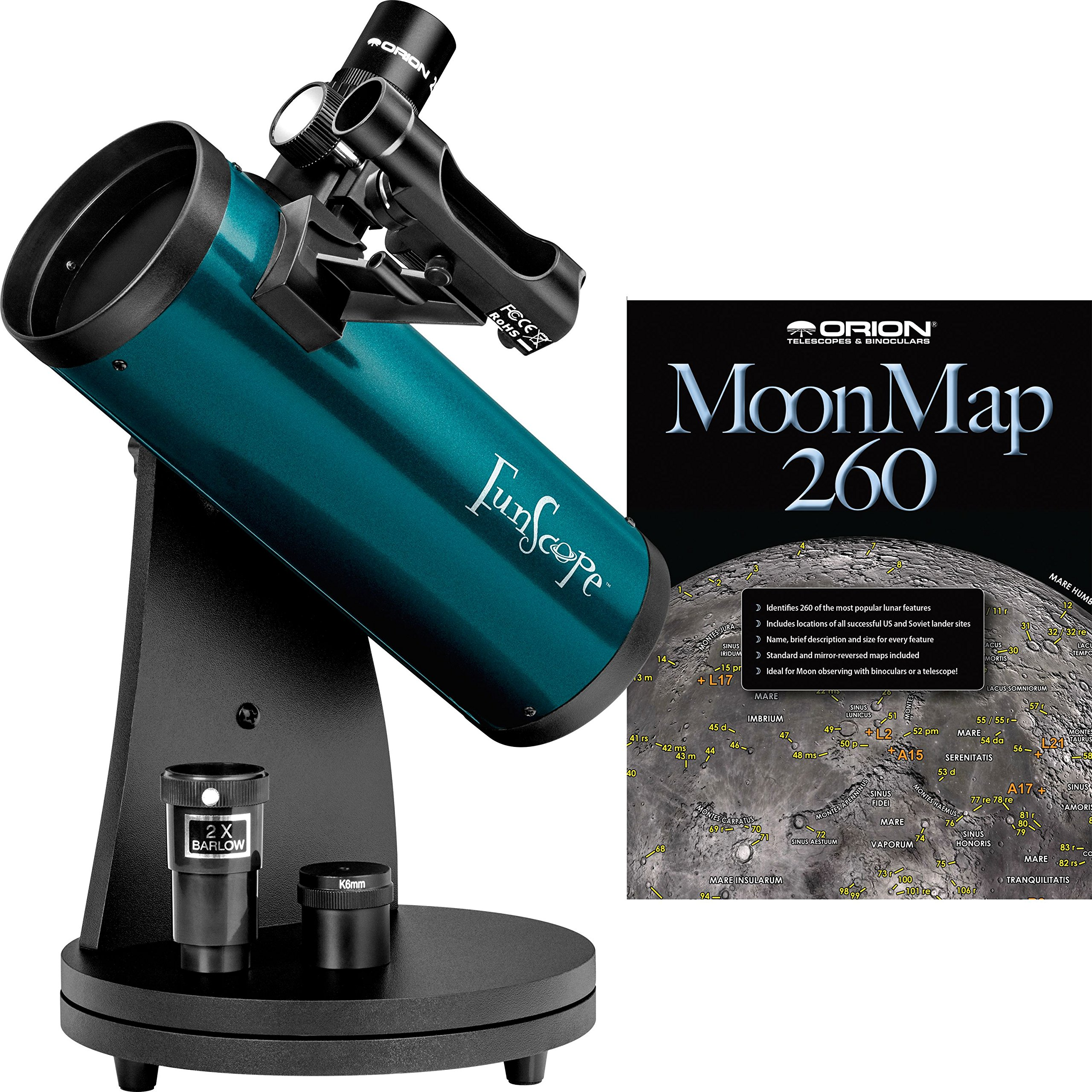 Orion 10033 FunScope 76mm TableTop Reflector Telescope Moon Kit (Blue) by Orion