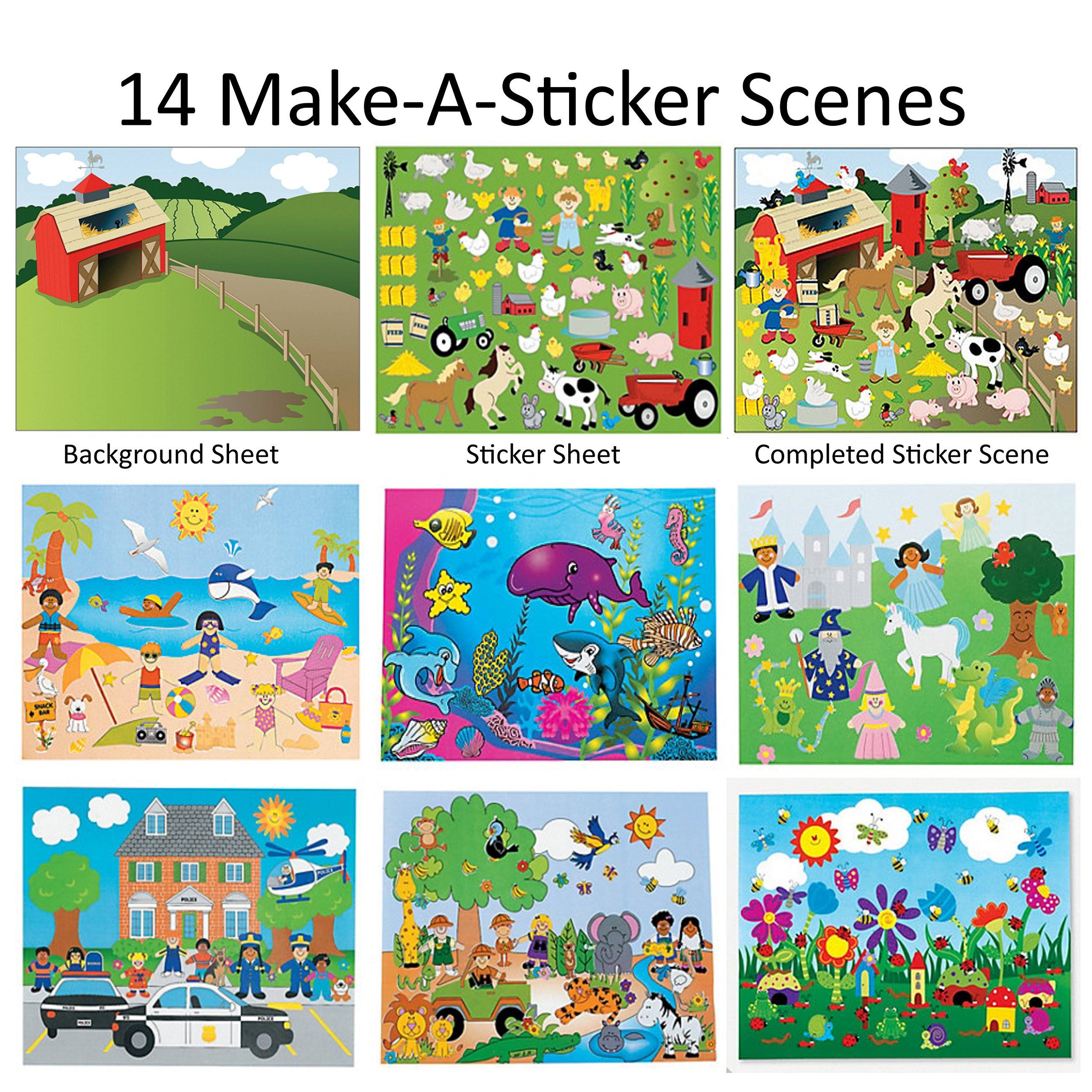 14 Make-A-Sticker Scene Variety Pack (7 different Sticker Scenes, 2 of each kind, size=8.5 x11 inches)