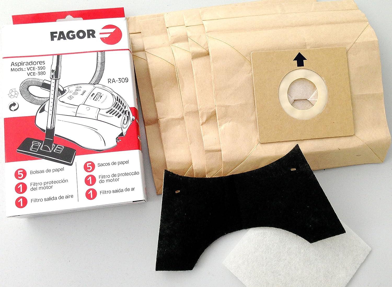 Fagor RA 309 Papel Bolsa para aspiradora Compatible con VCE de 390 ...