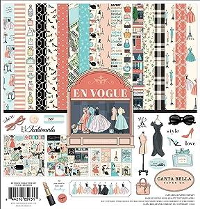 Carta Bella Paper Company En Vogue Collection Kit paper, pink, green, teal, black