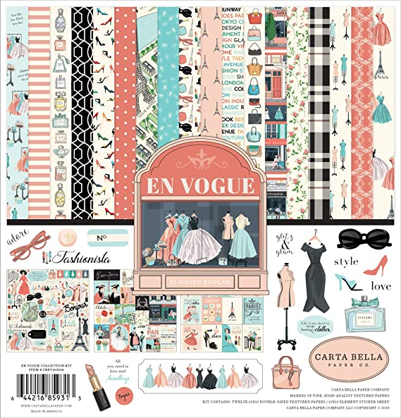 Carta Bella Paper Company Summer Market Collection Kit paper yellow teal red pink green black