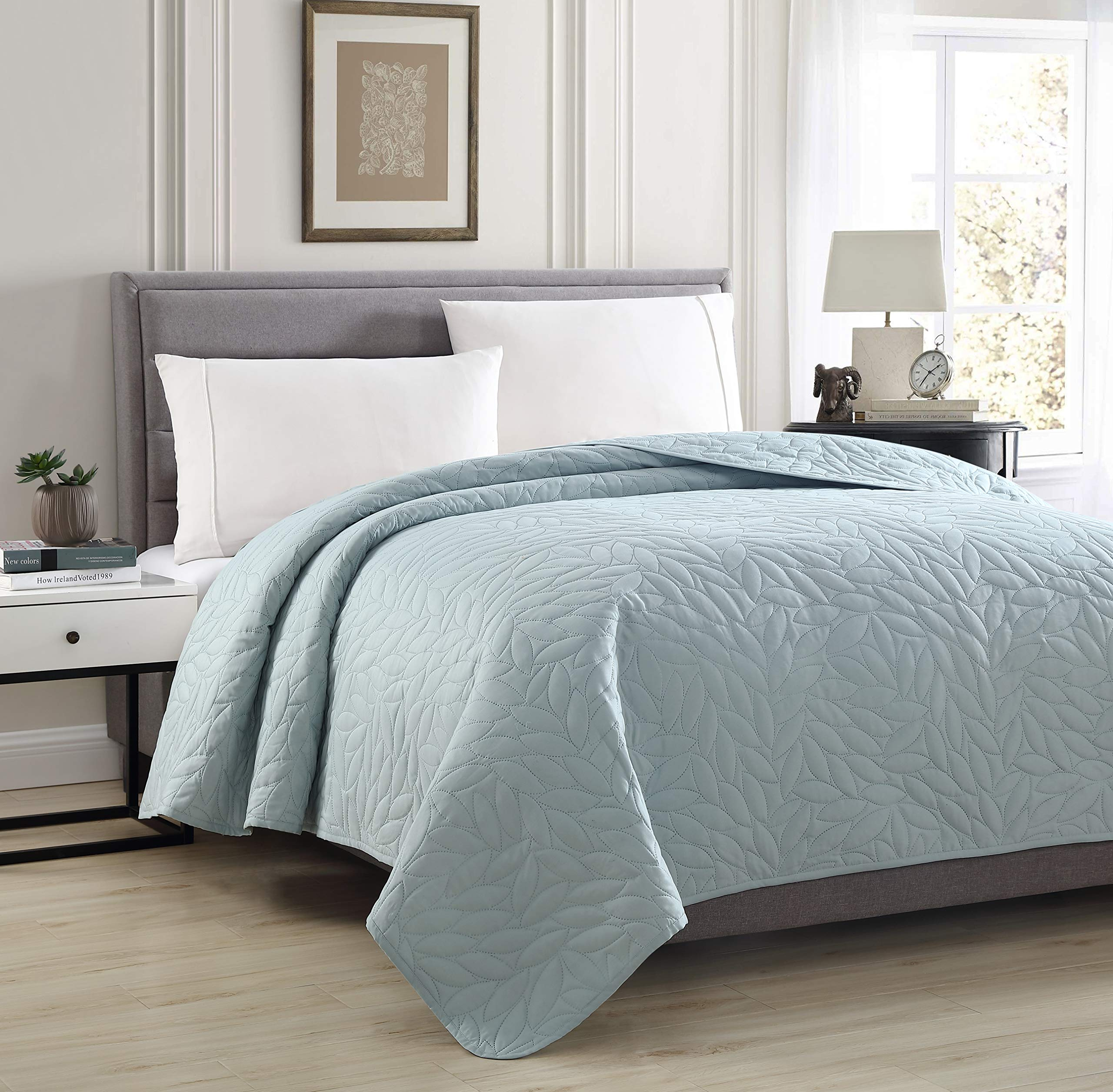 Bourina Reversible Bed Quilt Bedspread and Coverlet 90'' x 90'' Microfiber Thin Comforter-Full/Queen, Blue