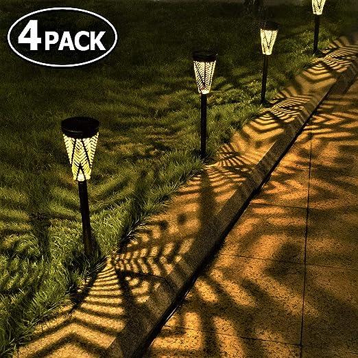 Luces Solares Jardín Metal LED Lámpara de Camino de Paisaje Blanco ...