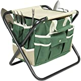 Best Choice Products 7-Piece Garden Tool Set w/Folding Stool, Tool Bag, and 5 Stainless Steel Tools - Multicolor