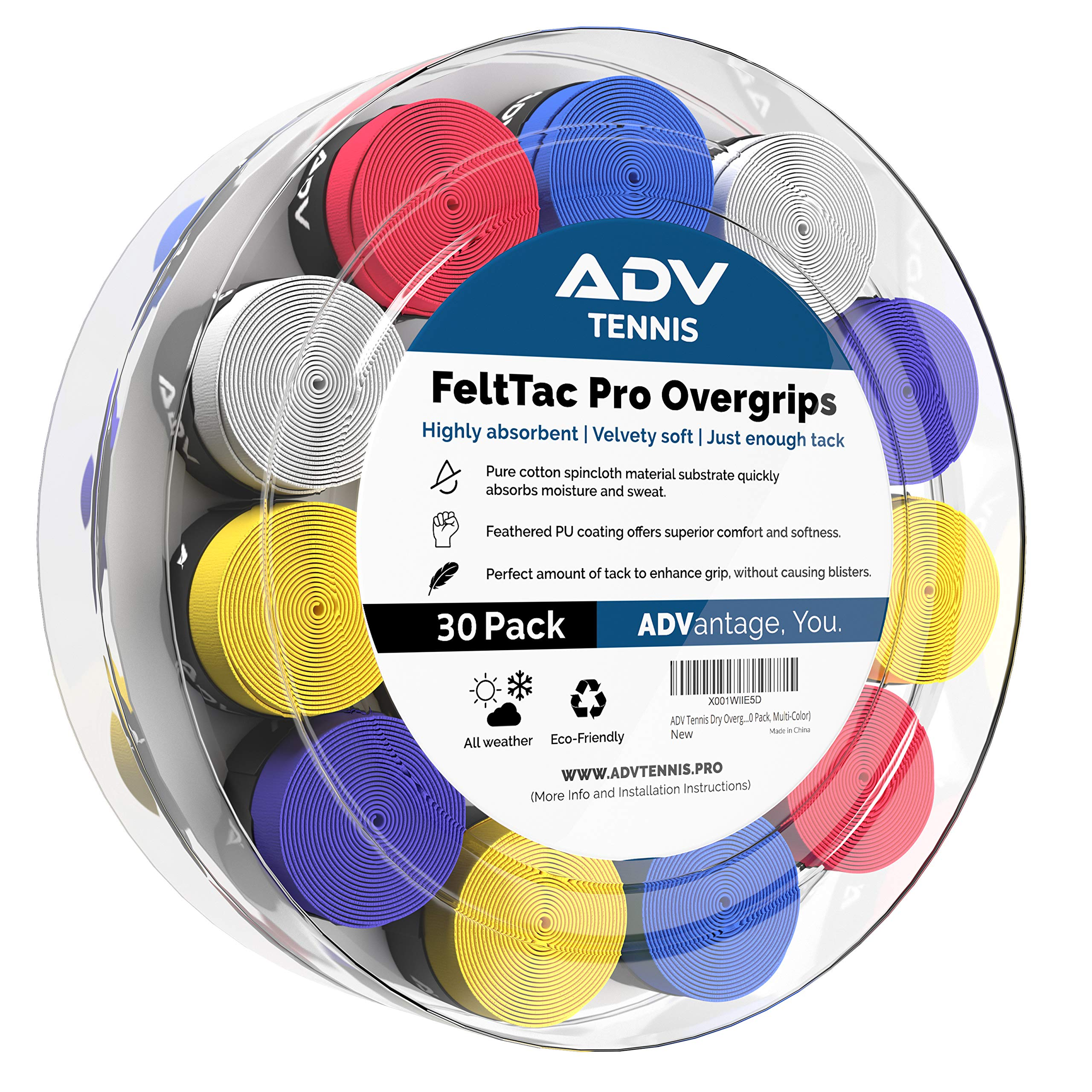 ADV Tennis Dry Overgrip - Remarkably Absorbent - Must Feel Velvety Comfort - Exclusive FeltTac Material (30 Pack, Multi-Color)