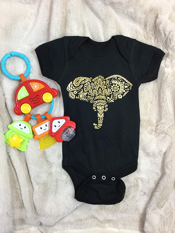baby shower gift graphic print baby bodysuit Newborn Golden Elephant baby girl or boy ONESIE take home newborn outfit