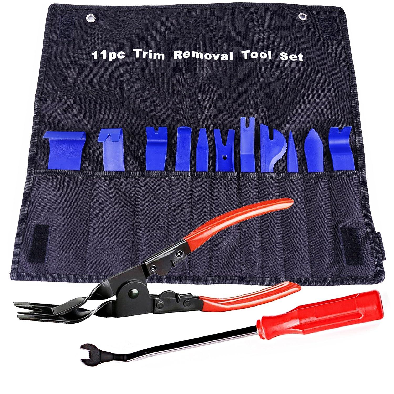 13個自動装飾ツール、強力なナイロン割れLike ABS、クリップペンチ&ファスナーリムーバー、耐久性ナイロンバッグ – ブルー ブルー ATCRT13B B078T2FYSJ ブルー ブルー