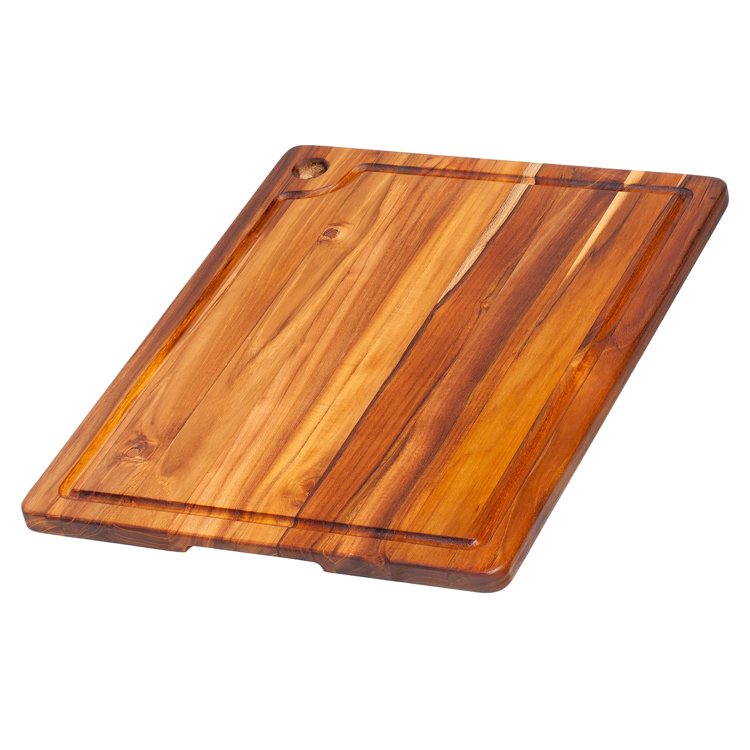 Teak Cutting Board - Rectangle Edge Grain Board With Corner Hole And Juice Canal (18 x 14 x .75 in.) - By Teakhaus
