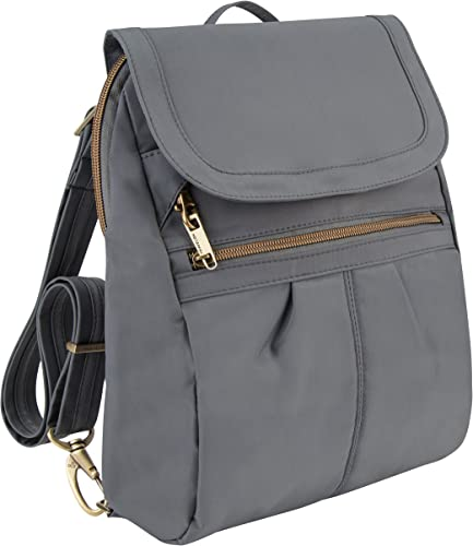 Travelon Anti-Theft Signature Slim Backpack, Pewter, One Size