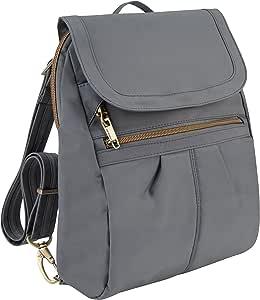 Travelon Anti-Theft Signature Slim Backpack, Pewter, One Size