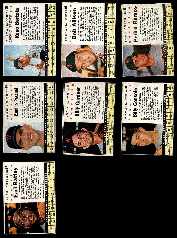 1961 Post Cereal Minnesota Twins in der Nähe von Team Satz Minnesota Twins (Baseball Set) Dean'S Cards 3 - Vg Twins