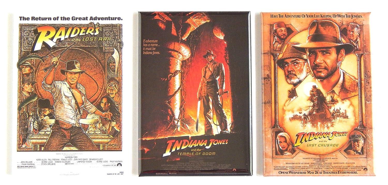 Indiana Jones Movie Poster Fridge Magnet Set (2 x 3 inches each)