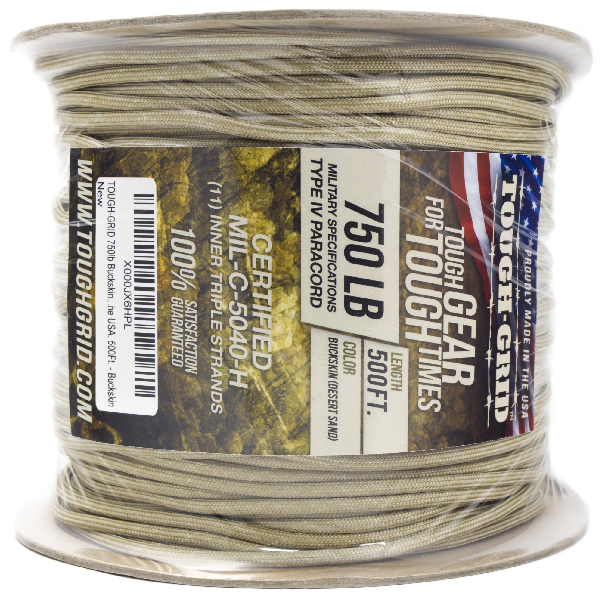 TOUGH-GRID 750lb Buckskin (Desert Sand) Paracord/Parachute Cord - Genuine Mil Spec Type IV 750lb Paracord Used by The US Military (MIl-C-5040-H) - 100% Nylon - Made in The USA. 500Ft. - Buckskin by TOUGH-GRID (Image #10)