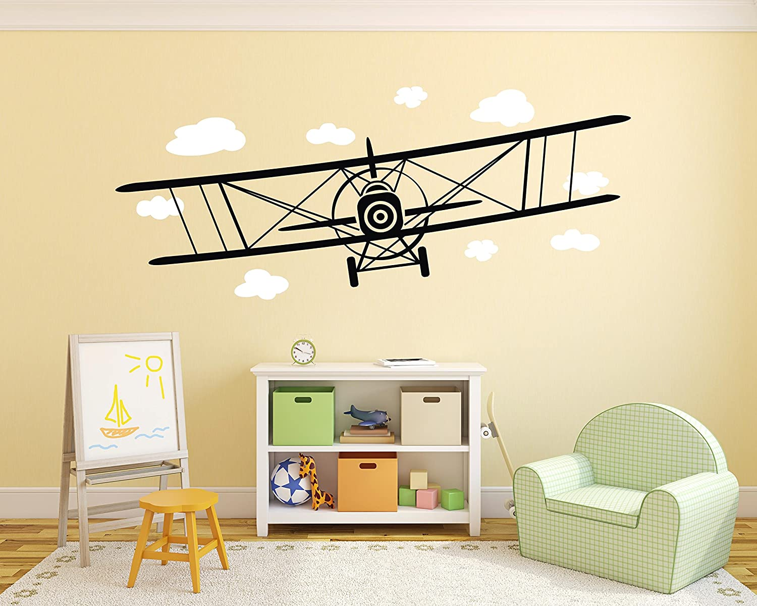 Amazon.com: Big Airplane Wall Decal Biplane Wall Sticker Airplane ...