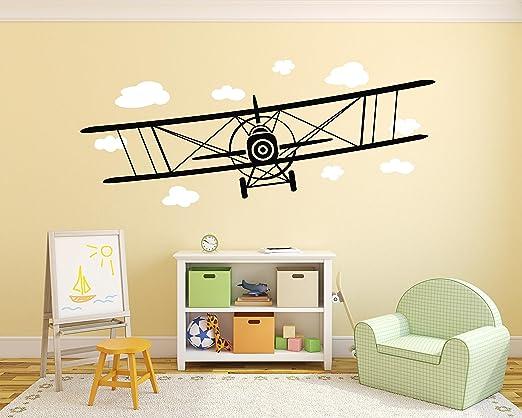 Amazon.com: Big Airplane Wall Decal Biplane Wall Sticker Airplane ...