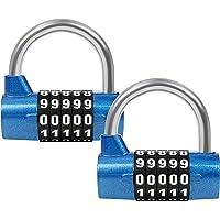 Belle Vous Candado de Combinación Azul 5 Dígitos (Pack de 2) - 6,5 cm x 2 cm (Largo x Ancho) Candado Seguridad…