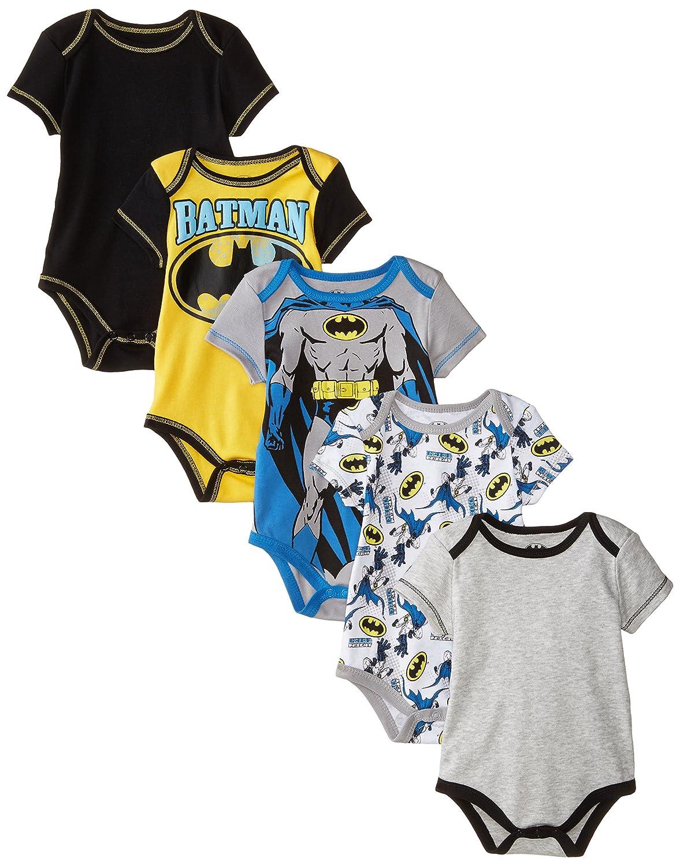 Warner Bros. baby-boys Baby Batman Bodysuit (Pack of Five) Grey 6-9 Months 05C3926BT