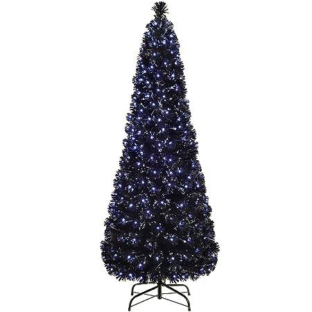 Slim Christmas Tree.Werchristmas Pre Lit Slim Christmas Tree With 185 Fibre Optic Lights Blue White 5 Feet 1 5 M