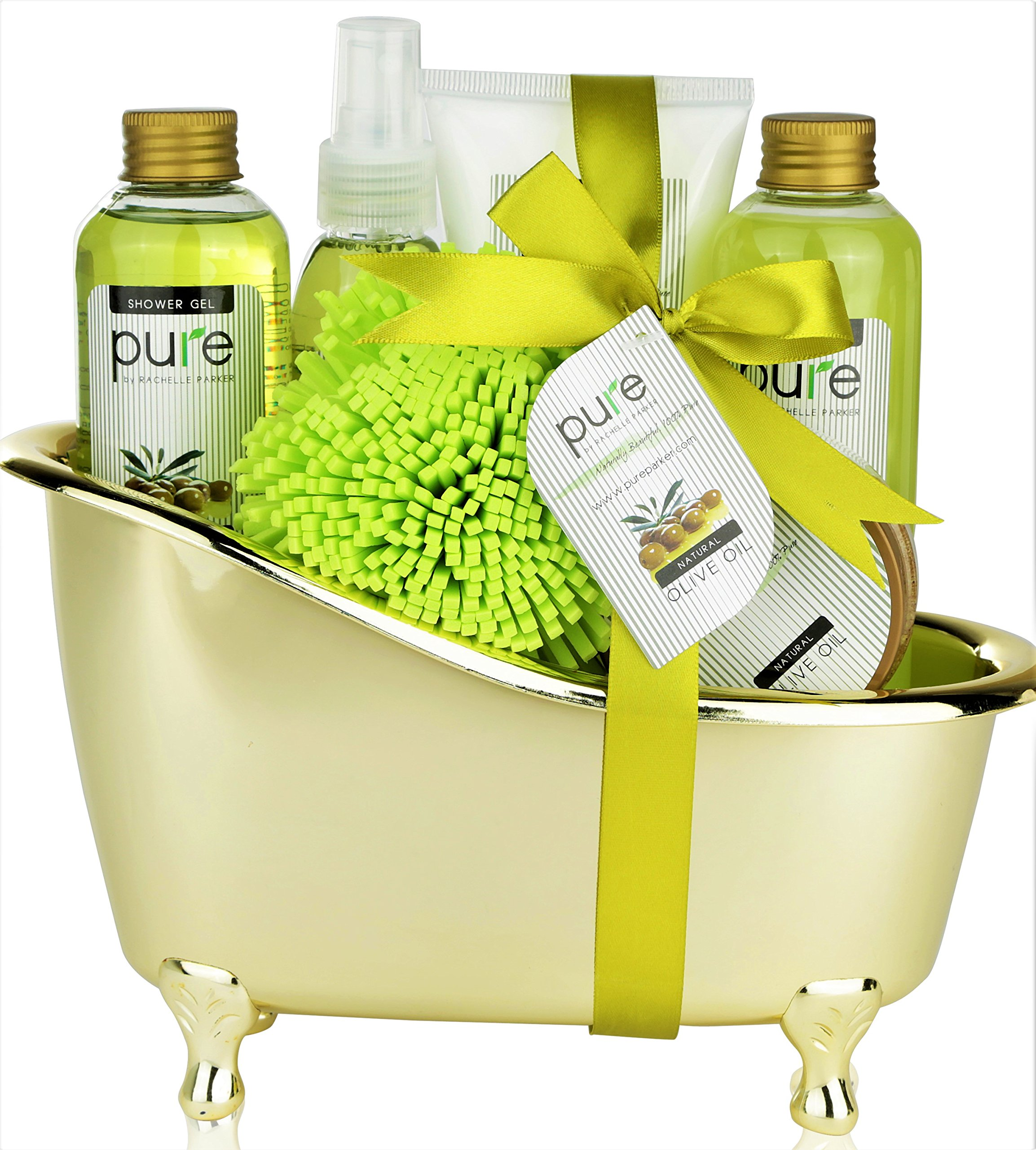 Pure Deluxe Spa Gift Basket- Hydrating Olive Oil Skin Therapy Kit Luxury Gift Basket - Spa Gift Baskets make Best Birthday Gifts for Women! Perfect Gift Baskets for Women & Men!