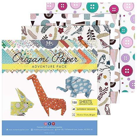 MozArt Supplies Paquete de papel para origami Adventure - 120 hojas - Papel japonés plegable con hermosos estampados crea infinidades de diseños - ...