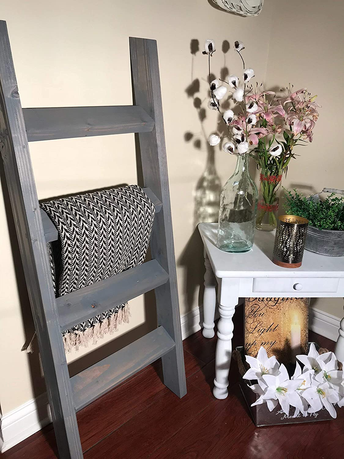 3, 4 or 5 ft Vintage Gray Blanket Ladder, Quilt Ladder, Wood Ladder, Towel Ladder, Farmhouse Ladder
