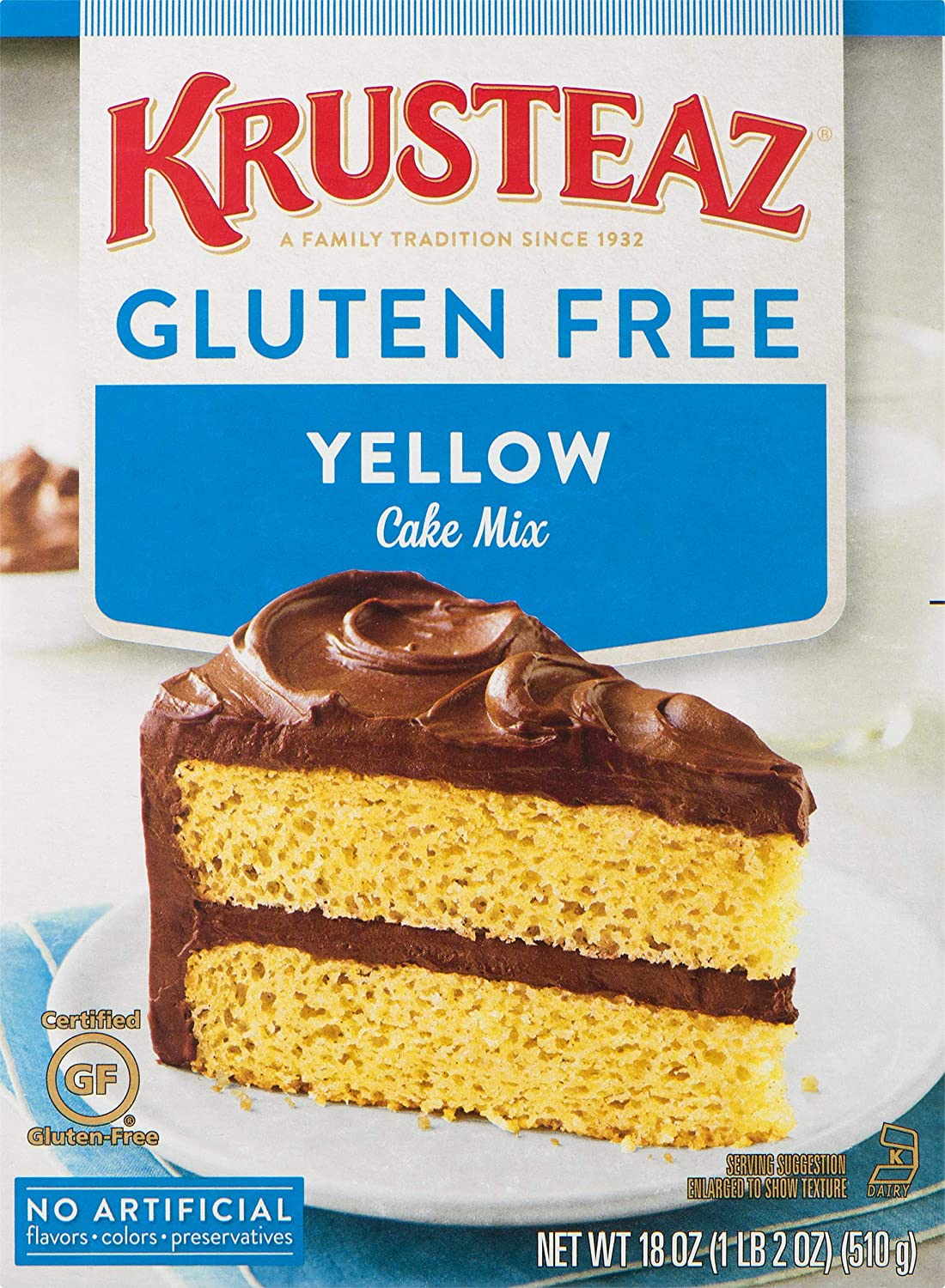 Krusteaz Gluten Free Yellow Cake Mix, 18 Ounce, Pack of 8