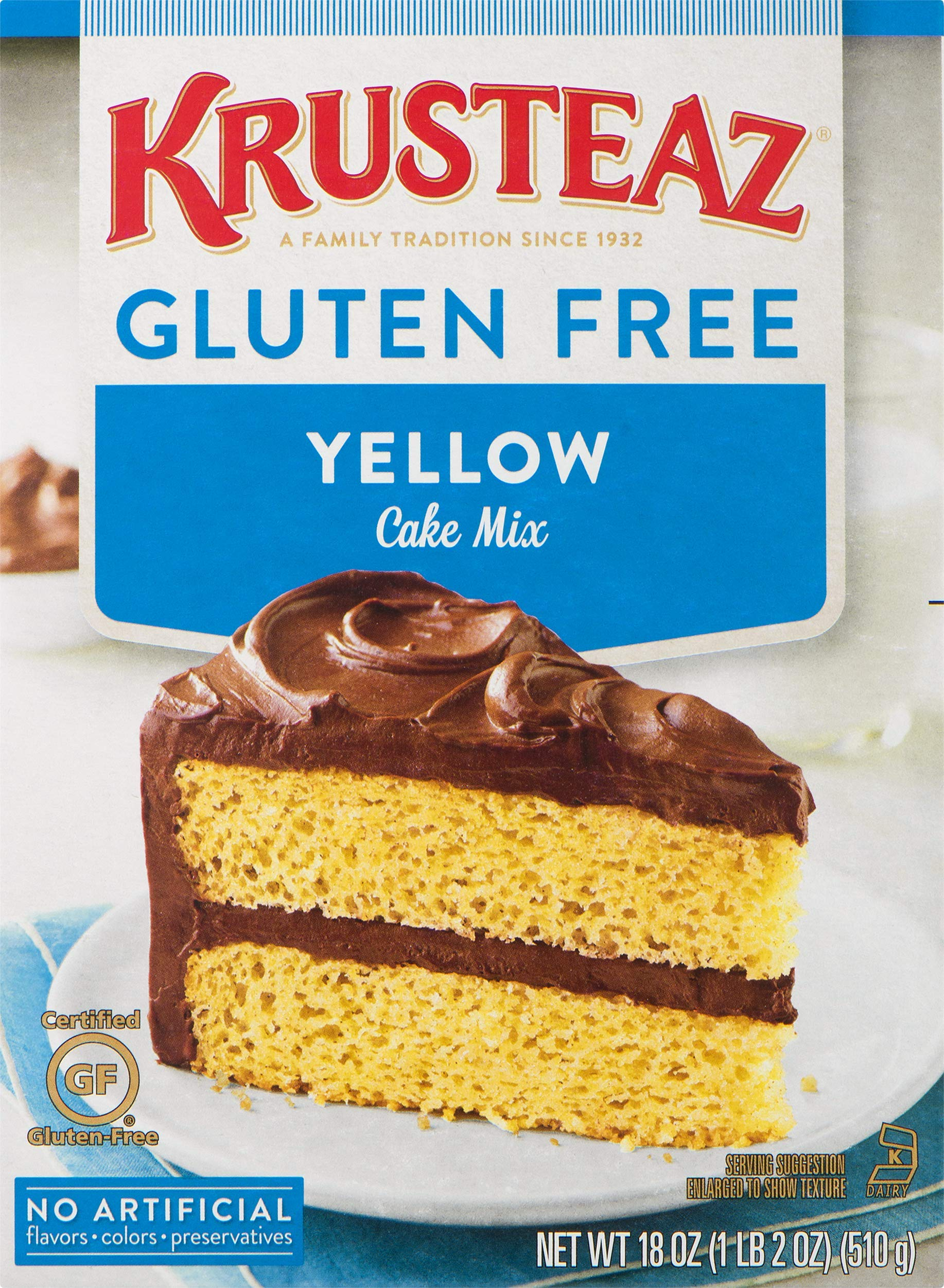 Krusteaz Gluten Free Yellow Cake Mix, 18 Ounce, Pack of 8 by Krusteaz