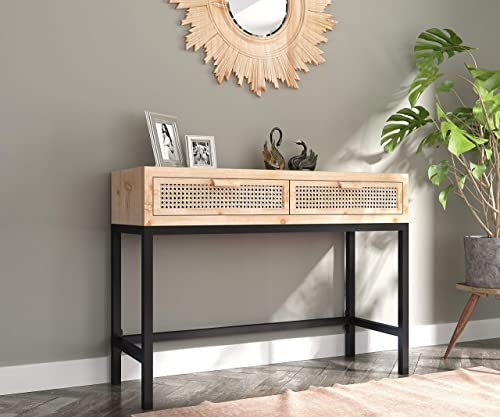 COZAYH Rustic Console Table with 2 Drawers Entryway Hallway Farmhouse Country Style, Modern, Natural