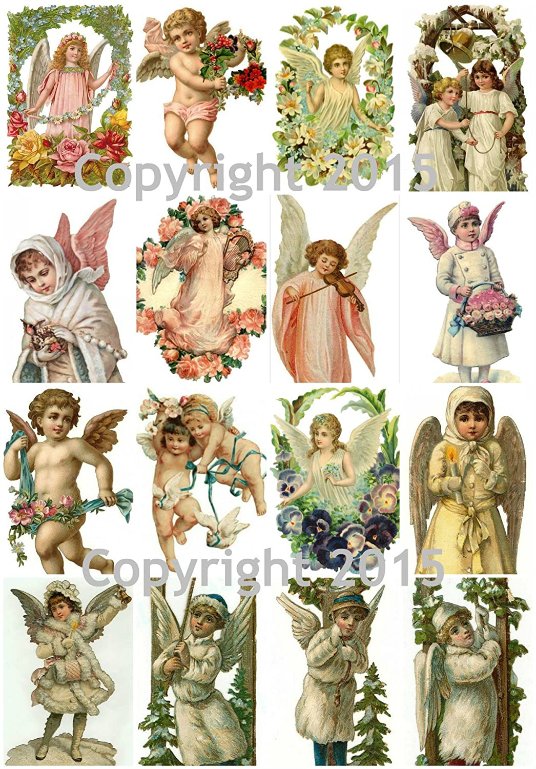 Victorian Vintage Angels Collage Sheet 8.5 x 11