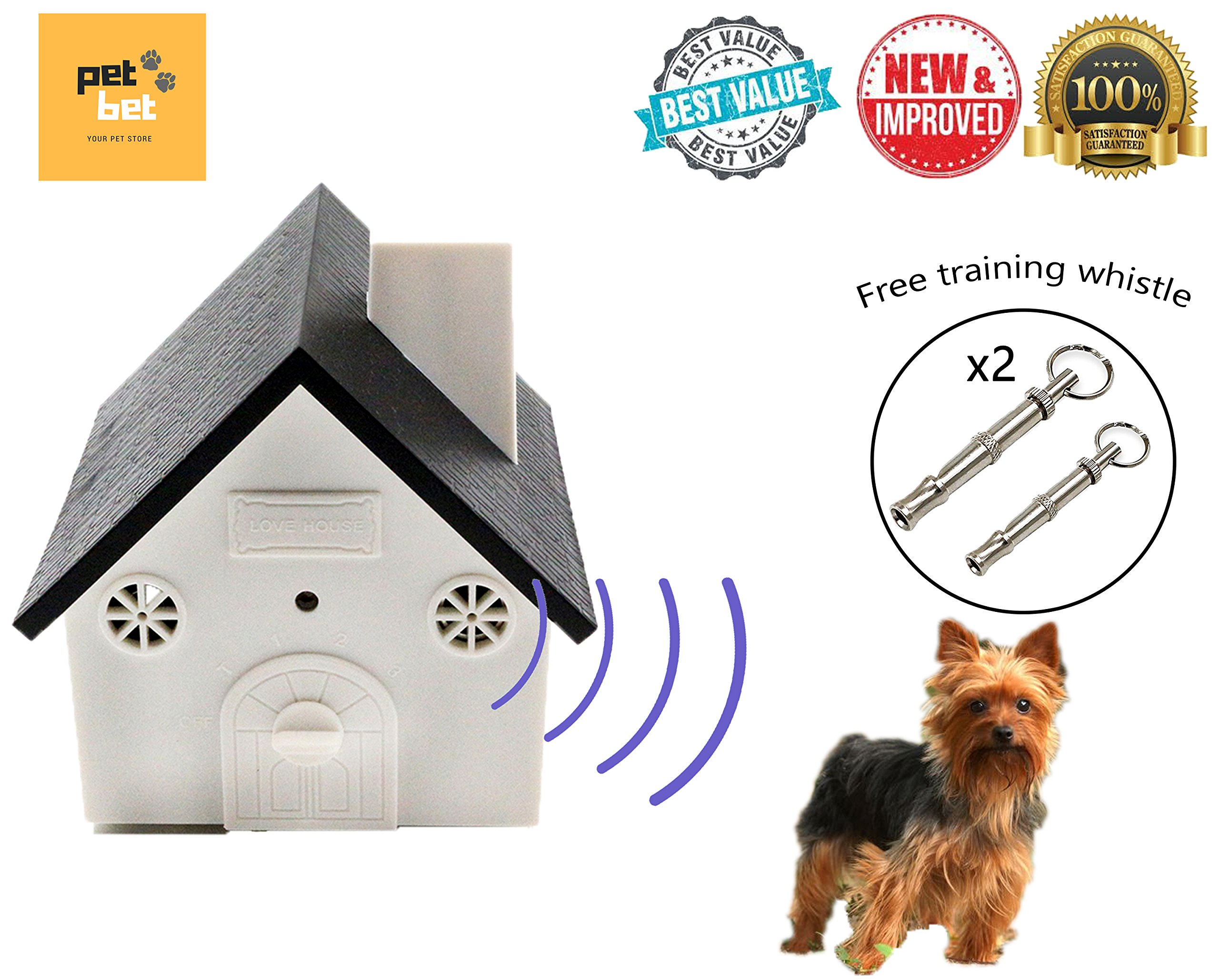 PetBet Ultrasonic Anti-Barking Dog Bark Controller Device Outdoor/Indoor Use - No Harm, Safe to Dog or Other Pets, Sonic Muzzle Bark Deterrent Stop Barking, No Collar, Easy Hanging
