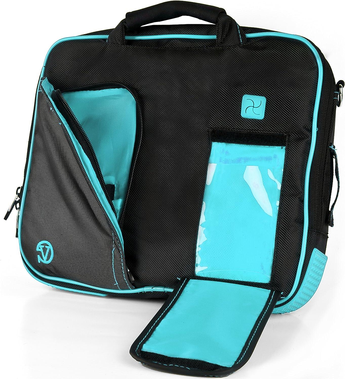 Vangoddy Pindar Messenger Bag (Black/Aqua) for 10 to 11.6 Inch Tablets and Laptops