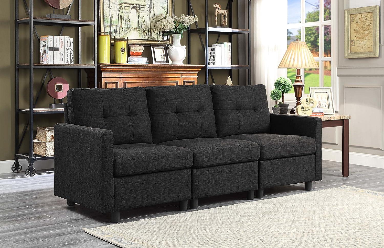 Black Linen Fabric Modular Sofa Assembly (Right Arm Chair)