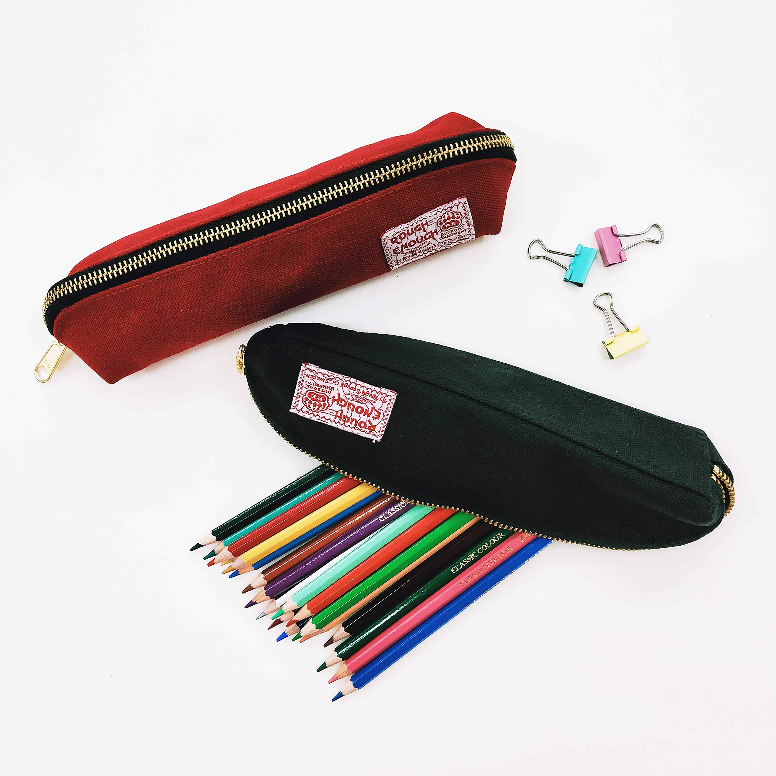 Rough Enough Multi-purpose CORDURA Polyester Long Slim Classic Portable Pencil Case Pouch Holder Organizer with YKK Gold Zipper for Stationary Cosmetics Accessories Kids Boys Students at Schools Black by ROUGH ENOUGH (Image #8)
