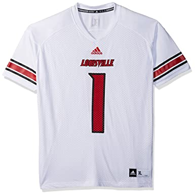 watch c61f0 1b5cd adidas Adult Men NCAA Replica Football Jersey, Small, White, Louisville  Cardinals
