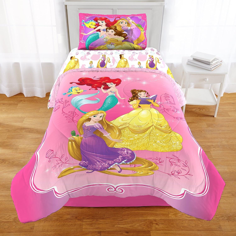 2 Piece Girls Kids Pink Princess Themed Comforter Twin/Full Set, Cute Disney Mermaid Rapunzel Bedding Belle Beauty and the Beast Fish Lizard Princesses Pattern Yellow Pretty, Reversible Polyester