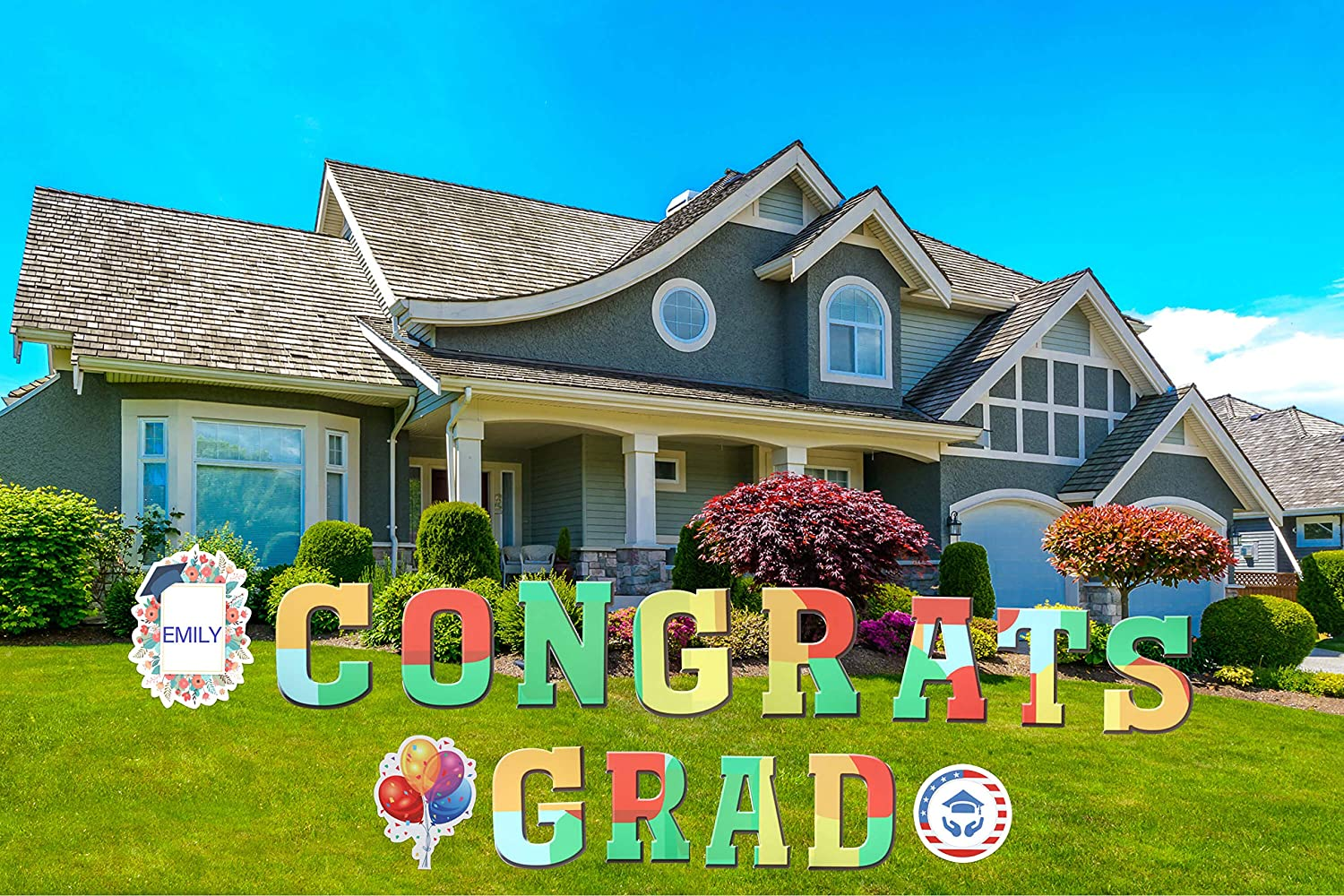 """JILLSKY Congrats Grad Yard Signs with Stakes, 16.7""""H Big Size Congratulations Lawn Decoration Yard Card with Custom Theme, for Grad Party Decoration Supplies, Outdoor - Set of 15"""