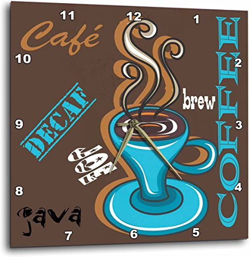 3dRose DPP_48506_1 Coffee Combo Wall Clock, 10 by 10-Inch