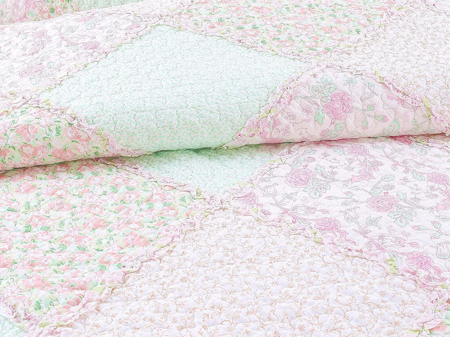 Vintage Story Cushion Shabby Patchwork 60x60cm 2 Cozy Line Home Fashions La Rosa Rve Quilt Bedding Set Floral Pink Green Rose Flower 3d Real Patchwork100 Cotton Reversible Coverlet