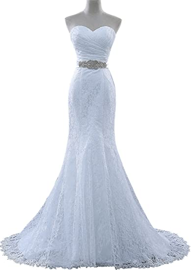 Tail Wedding Dresses | Obqoo Sexy Sweetheart Lace Sash Mermaid Wedding Dress With Tail
